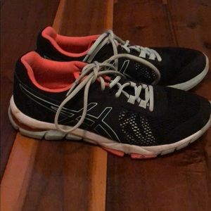 ASICS black teal and pink sneakers